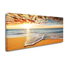 Brilliant Ocean Beach Sunrise Seascape Canvas Print Modern Home Decor Wall Art - Kinsley Houlridge Cheap Canvas Prints, Large Canvas Wall Art, Hanging Canvas, Canvas Wall Decor, Stretched Canvas Prints, Wall Art Decor, Beach Sunrise, Ocean Beach, Beach Wall Art