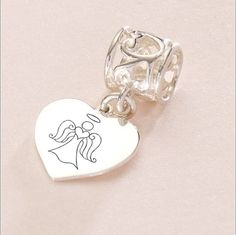 Sterling Silver Engraved Angel Charm. Any Engraving on the Back.