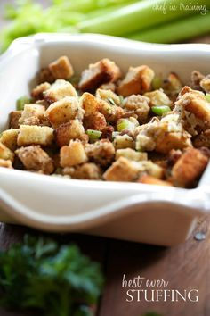 Best Ever Stuffing from chef-in-training.com ...The Flavor of this stuffing is SO amazing and delicious! This is the perfect side dish for the upcoming holidays!