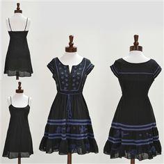 Free People  Black Pintuck Eyelet Cotton Dress
