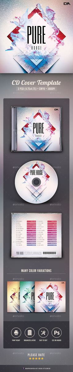 Pure House CD Cover ArtworkThis CD cover template is designed for a band, DJ or music label to promote a new album release. With t