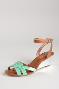 BCBGeneration- Tryxie Wedge Sandal  Loving the low-heeled wedgie in this vintage-y mint shade!