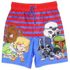 Angry Birds Little Boys Navy Blue Character Printed Swim Wear Shorts 2T-7