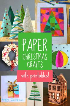 Easy paper Christmas crafts printables for children - NurtureStore Paper Christmas Decorations, Christmas Crafts To Make, Simple Christmas Cards, Christmas Activities For Kids, Art Activities For Kids, Colorful Christmas Tree, Christmas Paper, Kids Christmas, Fun Crafts