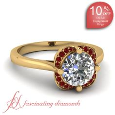 Round Diamond and Red Ruby 14K Yellow Gold Halo Engagement Ring in Prong Setting || Encrusted Petal Ring