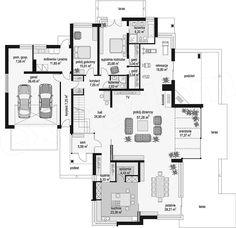 Projekt domu Prestiżowy 402,65 m2 - koszt budowy - EXTRADOM Luxury House Plans, Dream House Plans, House Floor Plans, Drawing House Plans, Indian House Plans, Three Bedroom House Plan, Modern House Facades, Simple House Plans, House Furniture Design