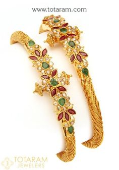 22 Karat Fine Gold Uncut Diamond Kada with Rubies & Emeralds - Set of 2 Pair)<br /> Net Gold Weight : grams Gold Bangles For Women, Gold Bangles Design, Gold Jewellery Design, Gold Jewelry, Gold Necklaces, Gemstone Bracelets, Gold Earrings, Bangle Bracelets, Bridal Bangles