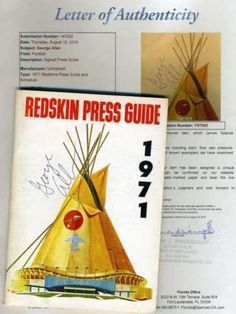 George Allen Original Hand Signed 1971 Redskins Media Guide Autograph - JSA Certified - NFL Autographed Miscellaneous Items -- Read more reviews of the product by visiting the link on the image.