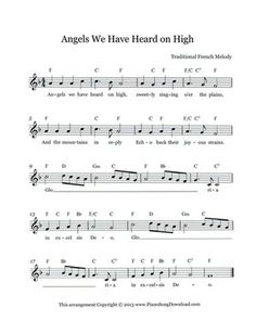 Angels We Have Heard on High - Free Christmas Lead Sheet with melody, chords and lyrics Ukulele Songs Beginner, Easy Piano Songs, Easy Piano Sheet Music, Violin Sheet Music, Violin Bow, Drum Music, Music Sheets, Christmas Piano Music, Christmas Songs Lyrics