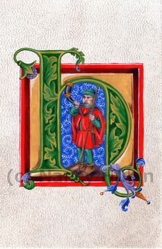Medieval Illuminated Letter H This is an archival 4 x 6 print of my original artwork, painted in acrylics on goatskin parchment. It shows a