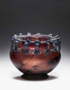 Vessel with 13 Handles, Roman, 3rd - 4th century, Glass, 8.2 x 9.7 cm (3 1/4 x 3 13/16 in.)