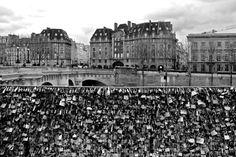 8x10 Love Lock Bridge Paris France Travel Photography Black and White