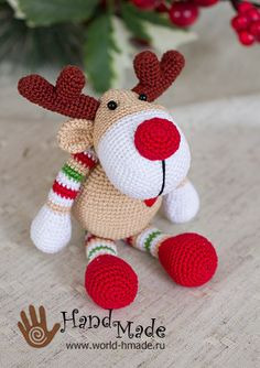 Christmas deer Rudolph hook. Knitting gifts for the holiday!