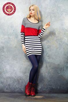 Womens Retro Contrast Color Striped Sweatshirt