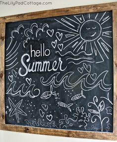 Chalkboard art inspiration for summer and the Fourth of July. Use Wallies peel-and-stick chalkboard sheets to make an easy framed chalkboard. Just cover a piece of cardboard (sized to frame) with Wallies chalkboard and then pop it into the frame! Chalkboard Doodles, Chalkboard Art Quotes, Blackboard Art, Kitchen Chalkboard, Chalkboard Drawings, Chalkboard Lettering, Chalkboard Designs, Framed Chalkboard, Chalk Drawings
