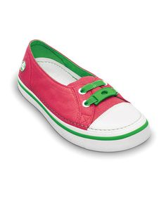 Take a look at this Watermelon & Lime Metallic Hover Skimmer Slip-On Sneaker - Kids by Crocs on #zulily today!