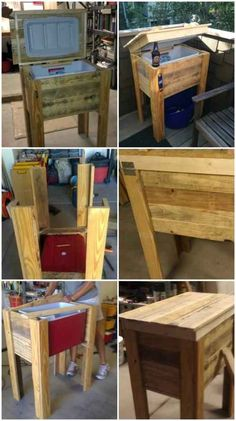projects pallet Cooler Stand - I'm not quite sure when exactly it happened, but the internet has exploded with thrifty reclaimed pallet projects and we DIYers are lapping them all up! What's so great about using pallet wood as material Outdoor Pallet Projects, Diy Outdoor Furniture, Pallet Crafts, Wood Projects, Woodworking Projects, Pallet Ideas, Pallet Cooler, Wood Cooler, Diy Cooler