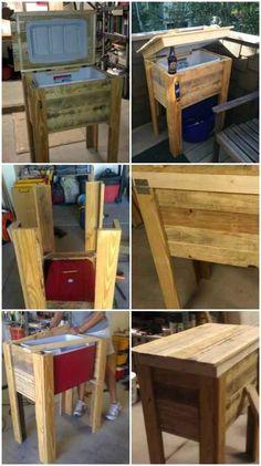 mini congélateur frigo encastré dans bois pour jardin en palette