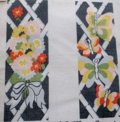 "SET of 2 BANNERS - FLOWERS & BUTTERFLY Needlepoint Canvas - 12 Ct - 4 1/4"" x 12"" #Gemini #Printed"