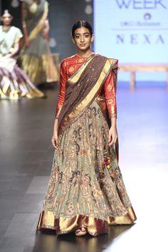 Gaurang at Lakmé Fashion Week winter/festive 2017 Half Saree Designs, Sari Blouse Designs, Fancy Blouse Designs, Lehenga Designs, Indian Attire, Indian Outfits, Lehnga Dress, Silk Dress, Indian Party Wear