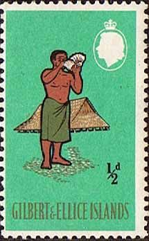 Gilbert and Ellice Islands 1965 Man Blowing Bu Shell Fine Mint SG Scott 89 Other European and British Commonwealth Stamps HERE! Vanuatu, Commonwealth, Kiribati Island, Ellice Islands, Gilbert Islands, Stamp Dealers, Wake Island, Federated States Of Micronesia, Postage Stamp Art