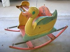 1950's Vintage Rocking Duck Chair Horse Old Antique Baby Child Furniture Room