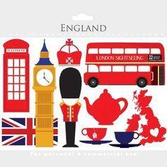 London clipart - England clip art, travel, UK, tea, bus, d