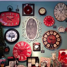 Rod Works Online Loving the black, white and red clocks all together! If you are a lover of clocks. Clock Decor, Wall Decor, Room Decor, Clock Display, Wall Clock Collage, Clock Wall, Red Clock, Kitchen Wall Clocks, Cool Clocks