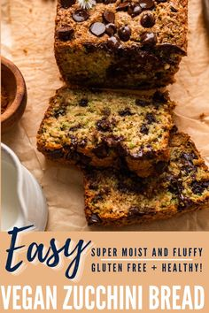 This super moist and fluffy vegan zucchini bread is the best way to use up that extra zucchini! Easy, secretly healthier, and naturally gluten free and dairy free, this vegan zucchini bread is the perfect breakfast bread or snack for the late summer. Gluten Free Recipes For Dinner, Gluten Free Sweets, Sugar Free Recipes, Gluten Free Baking, Vegan Gluten Free, Dairy Free, Dinner Recipes, Gluten Free Zucchini Bread, Zucchini Banana Bread