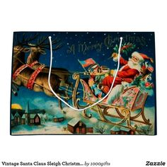 Vintage Santa Claus Sleigh Christmas Holiday Large Gift Bag Vintage Santa Claus, Vintage Santas, Holiday Cards, Christmas Cards, Retro Christmas Decorations, Custom Gift Bags, Large Gift Bags, Christmas Card Holders, Vintage Shops