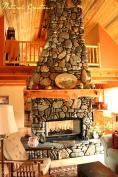 River Rock Fireplace.