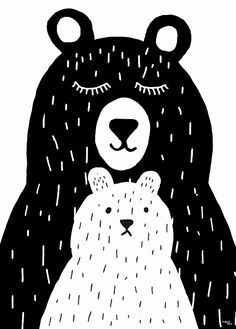 Poster Grote beer en kleine beer / Affiche Grand et petit ours / Poster Big bear and baby bear Bear Drawing, Drawing For Kids, Art For Kids, Children Drawing, Drawing Animals, Poster Drawing, Art Children, Illustration Art Nouveau, Cute Illustration