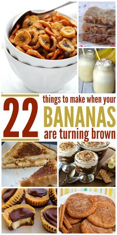 """22 Delicious Answers to """"What to Do with Overripe Bananas?"""" But what happens when they start turning brown? We've got 22 delicious answers that finally solve the age old dilemma of """"What to do with overripe bananas? Recipes For Old Bananas, Banana Recipes Easy, Overripe Banana Recipes, Frozen Banana Recipes, Leftover Banana Recipes, Recipe With Ripe Bananas, Desserts With Bananas, Banana Bars, Banana Bread"""