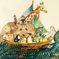 Detail from 'Come Sail with Me' by Jenny Laidlaw. Perfect gifts for all the lovely folk in your life! Jenny is an artist from Jan Juc Victorian surf coast with a real love for the sea. Prints available at Blarney.  @jennylaidlaw1 #art #artist #bookartist #coast #surfcoast #prints #animals #boats #surf #sea #greatoceanroad #blarneybooksandart #portfairy #warrnambool by blarneybooks