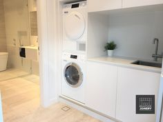 Small space laundry that can be hidden out of sight Stacked Washer Dryer, Washer And Dryer, Hidden Laundry, Cupboard Wardrobe, Room Closet, Room Planning, Internal Doors, Kitchen Cupboards, Bathroom Interior Design