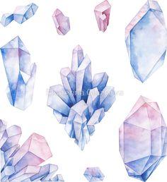 «Watercolor pastel colored crystals» de Ekaterina Glazkova