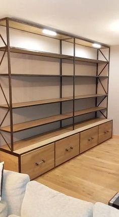 Bibliothèque en chêne massif Kitchen Design, Divider, Industrial, Room, Furniture, Home Decor, Contemporary Style, Atelier, Solid Oak