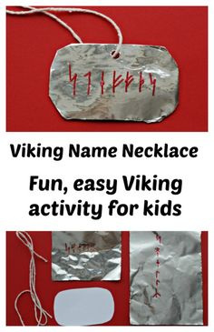 Fiction makes fun learning Viking Name Necklace. Fun easy activity for kids learning about Vikings and perfect to do it reading How To Train Your DragonAbout us About us may refer to: Norway Crafts For Kids, Kids Crafts, Projects For Kids, Dragon Birthday Parties, Dragon Party, How To Train Your, How Train Your Dragon, Vikings For Kids, Viking Names