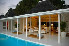- love this open or a  frameless glass effect to the pool . . could we do this at home