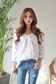 Aloba Collar Off Shoulder Blouse