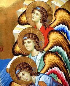 The icon - painters Giovanni Raffa and Laura Renzi (Italy) Byzantine Icons, Byzantine Art, Religious Icons, Religious Art, I Believe In Angels, Angels Among Us, Catholic Art, Art Icon, Guardian Angels
