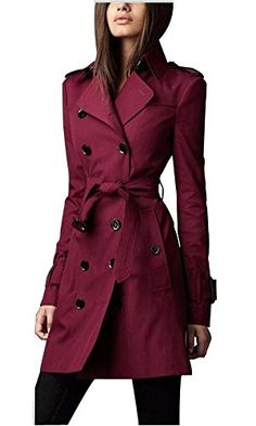 Eorish Women's British Style Elegant Double Breasted Slim Long Trench Coat (Asian XXL, Wine). 100% Brand New. Asian Size, Please Refer to Our Detailed Size Chart Below the Product Description Before You Purchase. Real Photos: The photos of black trench coat is taken by ourselves. The model's size chart is in the product description for your reference. Suit for daily casual, work, etc. Fashion and Elegant. Season: Spring, Autumn. Lightweight Trench Coat.