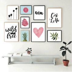 Set de 9 cuadros modernos - Wild and Free - Hoku Deco Photo Wall Decor, Room Wall Decor, Home Decor Wall Art, Diy Wall Decor, Gold Bedroom Decor, Room Ideas Bedroom, Creative Wall Decor, Wall Decor Quotes, Inspiration Wall
