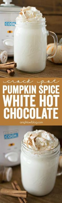 This Crock Pot Pumpkin Spice White Hot Chocolate is just three ingredients and is so easy to make! Perfect for a chilly fall evening! by greta