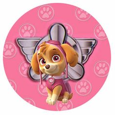 Kit de artes digitais free, patrulha canina cor de rosa, para as meninas, com o personagem da cachorrinha Skye, para imprimir gratuito.