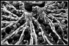 Unity and focus of the Castellers. Human Pyramid, The Masterpiece, Barcelona, Statue, Towers, Unity, Places, Tours, Barcelona Spain