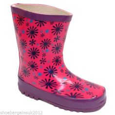 Girls Pink Purple Winter Waterproof  Wellies Wellington Snow Boots Infant  4 - 9 More sizes now available!