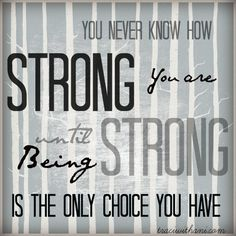 You Never Know How Strong You are Until Being Strong is the Only Choice You Have I quotes I popular I typography