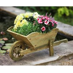 The Woodland Wheelbarrow Planter is a charming garden ornament with a working wheel. Made from robust pine this wheelbarrow features a large planter,. Wooden Planters, Large Planters, Outdoor Planters, Flower Planters, Flower Pots, Wheelbarrow Planter, Planter Boxes, Planter Garden, Garden Art
