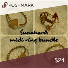 SunharA treasure charm midi ring bundle SunharA Size 3 treasure charm midi rings one each as shown: Spade, Anchor, Heart, Clover Brass goldtone Made in Indonesia Brand new retail inventory Includes SunaharA burlap jewelry bag for each ring  Perfect for stocking stuffers Wholesale pricing, bundle and save even more!! Sunahara Jewelry Jewelry Rings